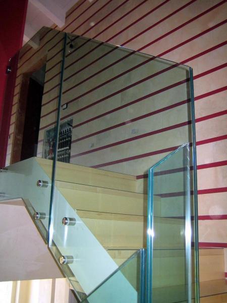 Parapetti con vetri extra-chiaro spessore mm 10+10 entrambi temperati stratificati con pvb 1,52.